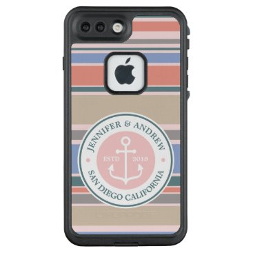 Beach Themed Anchor Monogram Trendy Stripes Pink Nautical Beach LifeProof FRĒ iPhone 7 Plus Case