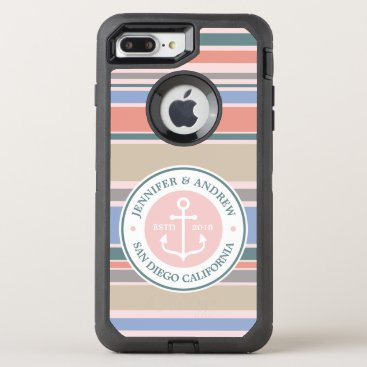 Beach Themed Anchor Monogram Trendy Stripes Pink Nautical Beach OtterBox Defender iPhone 7 Plus Case