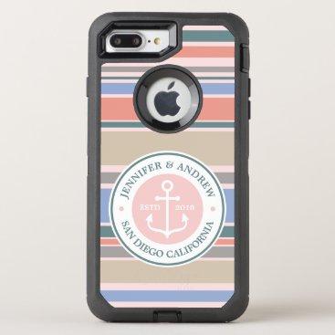 Beach Themed Anchor Monogram Trendy Stripes Pink Nautical Beach OtterBox Defender iPhone 8 Plus/7 Plus Case
