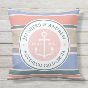 Beach Themed Anchor Monogram Trendy Stripes Pink Nautical Beach Outdoor Pillow