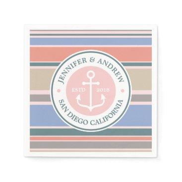 Beach Themed Anchor Monogram Trendy Stripes Pink Nautical Beach Paper Napkin