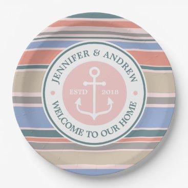 Beach Themed Anchor Monogram Trendy Stripes Pink Nautical Beach Paper Plate