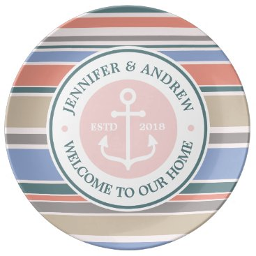 Beach Themed Anchor Monogram Trendy Stripes Pink Nautical Beach Plate