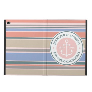 Beach Themed Anchor Monogram Trendy Stripes Pink Nautical Beach Powis iPad Air 2 Case