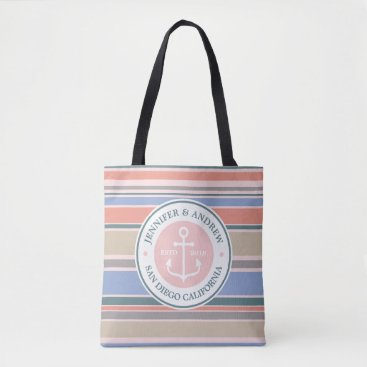 Beach Themed Anchor Monogram Trendy Stripes Pink Nautical Beach Tote Bag