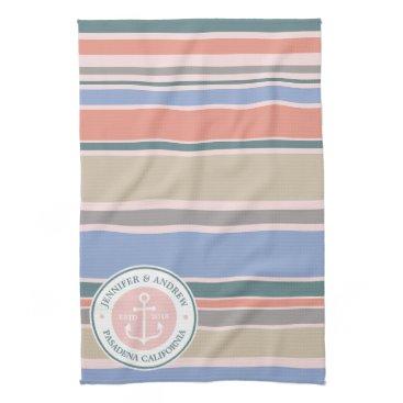 Beach Themed Anchor Monogram Trendy Stripes Pink Nautical Beach Towel