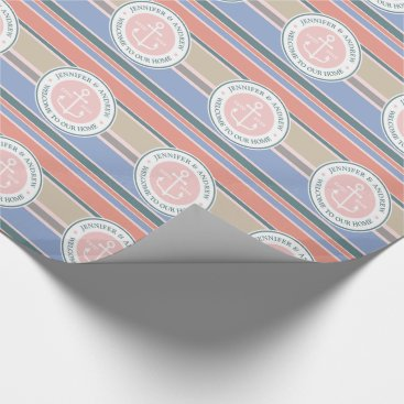 Beach Themed Anchor Monogram Trendy Stripes Pink Nautical Beach Wrapping Paper