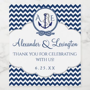 Beach Themed Anchor Monogram Wedding Favor Navy Blue Chevron Wine Label