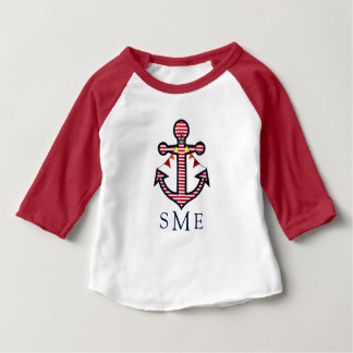 Anchor Monogram with Red Stripes & Bunting Banner Baby T-Shirt