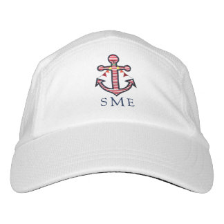 Anchor Monogram with Red Stripes & Bunting Banner Headsweats Hat
