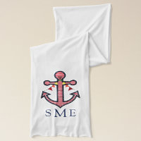 Anchor Monogram with Red Stripes & Bunting Banner Scarf