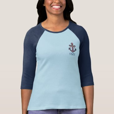 Beach Themed Anchor Monogram with Red Stripes & Bunting Banner T-Shirt
