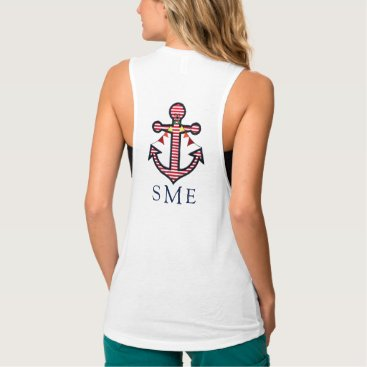 Beach Themed Anchor Monogram with Red Stripes & Bunting Banner Tank Top