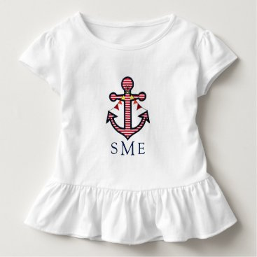 Beach Themed Anchor Monogram with Red Stripes & Bunting Banner Toddler T-shirt