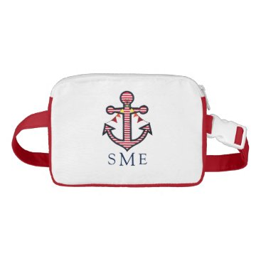 Beach Themed Anchor Monogram with Red Stripes & Bunting Banner Waist Bag