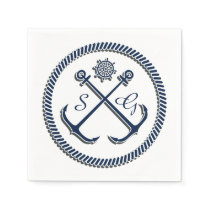 Anchor Monograms, Nautical personalized napkins