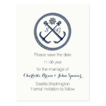 Anchor Monograms, Nautical save the date Postcard