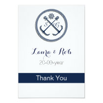 Anchor Monograms, Nautical Wedding Card