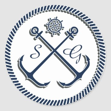 Anchor Monograms, Nautical wedding envelopes seals