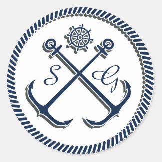 Anchor Monograms, Nautical wedding envelopes seals Classic Round Sticker