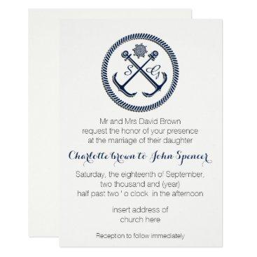Anchor Monograms, Nautical Wedding Invitations