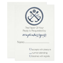 Anchor Monograms, Nautical Wedding rsvp 3.5 x 5 Card