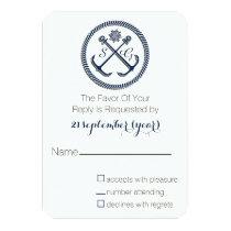 Anchor Monograms, Nautical Wedding rsvp 3.5 x 5 Card