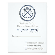 Anchor Monograms, Nautical Wedding rsvp Card