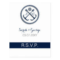 Anchor Monograms, Nautical Wedding rsvp Postcard