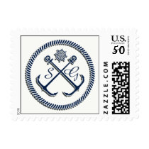 Anchor Monograms, Nautical wedding stamps