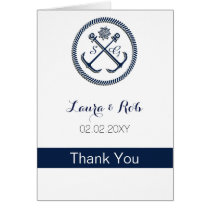 Anchor Monograms, Nautical Wedding Thank You cards