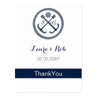 Anchor Monograms, Nautical Wedding Thank You cards