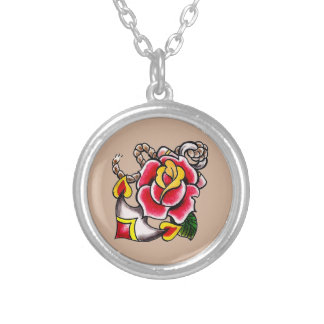 Anchor-n-Rose Round Necklace
