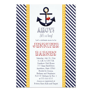Anchor Nautical Baby Shower Invitations Yellow