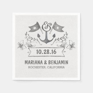anchor nautical beach wedding paper napkins