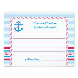 """Anchor Nautical Bridal Advise Card 4.25"""" X 5.5"""" Invitation Card"""