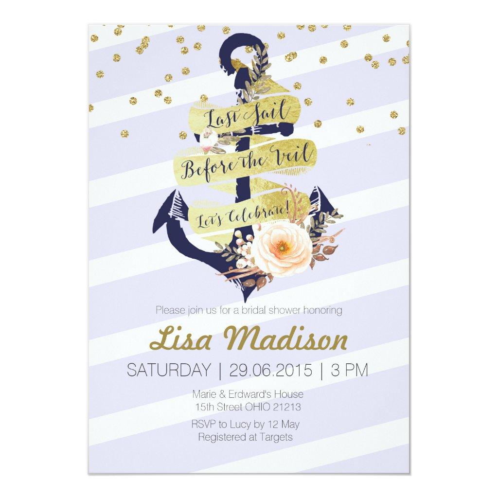 anchor nautical bridal shower invitation