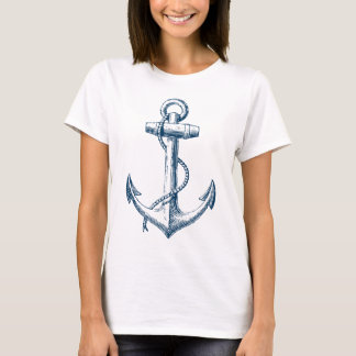 Anchor Nautical Graphic T Shirt Tee Blue White