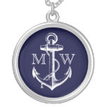 Anchor, Nautical Monogram Round Pendant Necklace