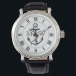 "Anchor, Nautical Monogram Watch<br><div class=""desc"">Anchor,  vintage engraving. Roman numerals. Replace placeholder letters with your initials.</div>"