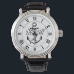 """Anchor, Nautical Monogram Watch<br><div class=""""desc"""">Anchor,  vintage engraving. Roman numerals. Replace placeholder letters with your initials.</div>"""