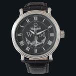 "Anchor, Nautical Monogram Wristwatch<br><div class=""desc"">Vintage anchor. Roman numerals. Replace placeholder letters with your initials.</div>"