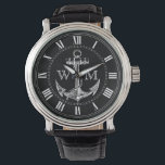 "Anchor, Nautical Monogram Wristwatch<br><div class=""desc"">Vintage anchor. Roman numerals. Replace placeholder letters with your initials.</div>"