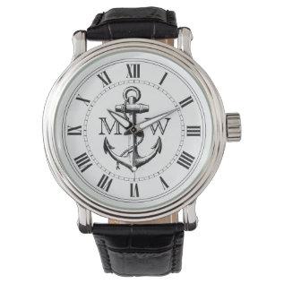 Anchor, Nautical Monogram Wristwatch at Zazzle