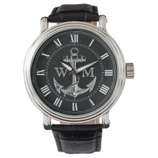 Anchor, Nautical Monogram Wristwatches