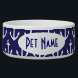 """Anchor Nautical Navy Personalized Pet Bowl<br><div class=""""desc"""">Popular anchor design in navy blue and white comes on a custom name pet bowl for your dog or cat.</div>"""