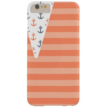Beach Themed Anchor Nautical Orange Grey Stripe Beach Barely There iPhone 6 Plus Case