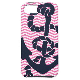 Anchor Nautical Pink Navy Chevron iPhone Case 4 s iPhone 5 Case
