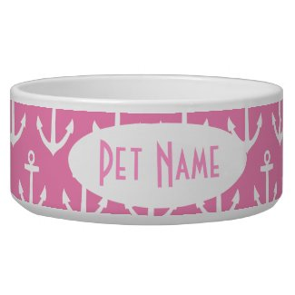Anchor Nautical Pink Personalized Pet Bowl