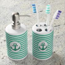 anchor nautical soap dispenser & toothbrush holder